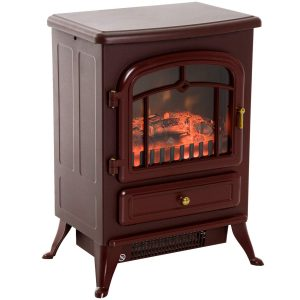 HomCom 1500W Compact Freestanding Electric Wood Heater For Garage